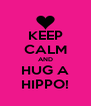 KEEP CALM AND HUG A HIPPO! - Personalised Poster A4 size