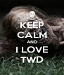KEEP CALM AND I LOVE  TWD  - Personalised Poster A4 size
