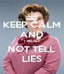 KEEP CALM AND I MUST NOT TELL LIES - Personalised Poster A4 size