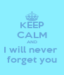 KEEP CALM AND I will never  forget you - Personalised Poster A4 size
