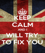 KEEP CALM AND I WILL TRY TO FIX YOU - Personalised Poster A4 size