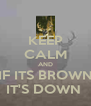 KEEP CALM AND IF ITS BROWN IT'S DOWN  - Personalised Poster A4 size