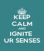 KEEP CALM AND IGNITE  UR SENSES - Personalised Poster A4 size