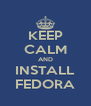 KEEP CALM AND INSTALL FEDORA - Personalised Poster A4 size