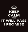 KEEP CALM AND IT WILL PASS I PROMISE - Personalised Poster A4 size