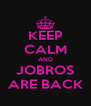 KEEP CALM AND JOBROS ARE BACK - Personalised Poster A4 size