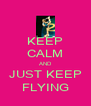 KEEP CALM AND JUST KEEP FLYING - Personalised Poster A4 size