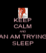 KEEP CALM AND KIERAN AM TRYING TAE SLEEP - Personalised Poster A4 size