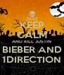 KEEP CALM AND KILL JUSTIN BIEBER AND 1DIRECTION - Personalised Poster A4 size