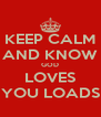 KEEP CALM AND KNOW GOD LOVES YOU LOADS - Personalised Poster A4 size