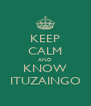 KEEP CALM AND KNOW ITUZAINGO - Personalised Poster A4 size