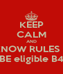 KEEP CALM AND KNOW RULES & BE eligible B4 - Personalised Poster A4 size
