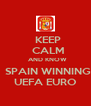 KEEP   CALM   AND KNOW   SPAIN WINNING   UEFA EURO   - Personalised Poster A4 size
