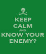 KEEP CALM AND KNOW YOUR ENEMY? - Personalised Poster A4 size