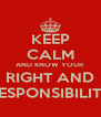 KEEP CALM AND KNOW YOUR RIGHT AND RESPONSIBILITY - Personalised Poster A4 size