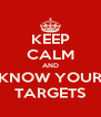 KEEP CALM AND KNOW YOUR TARGETS - Personalised Poster A4 size
