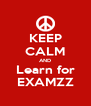 KEEP CALM AND Learn for EXAMZZ - Personalised Poster A4 size