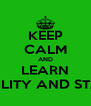 KEEP CALM AND LEARN PROBABILITY AND STATISTICS - Personalised Poster A4 size