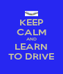 KEEP CALM AND LEARN TO DRIVE - Personalised Poster A4 size