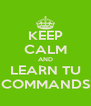 KEEP CALM AND LEARN TU COMMANDS - Personalised Poster A4 size