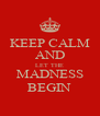 KEEP CALM AND LET THE MADNESS BEGIN - Personalised Poster A4 size