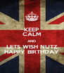 KEEP CALM AND LETS WISH NUTZ HAPPY BIRTHDAY - Personalised Poster A4 size