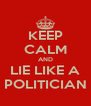 KEEP CALM AND LIE LIKE A POLITICIAN - Personalised Poster A4 size