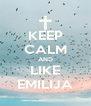 KEEP CALM AND LIKE EMILIJA - Personalised Poster A4 size