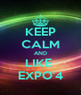 KEEP CALM AND LIKE  EXPO'4 - Personalised Poster A4 size