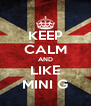 KEEP CALM AND LIKE MINI G - Personalised Poster A4 size
