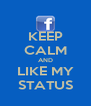 KEEP CALM AND LIKE MY STATUS - Personalised Poster A4 size