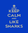 KEEP CALM AND LIKE SHARKS - Personalised Poster A4 size