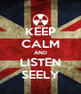 KEEP CALM AND LISTEN SEELY - Personalised Poster A4 size