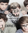KEEP CALM AND LISTEN  TO 1 DIRECTION - Personalised Poster A4 size