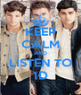 KEEP CALM AND LISTEN TO 1D - Personalised Poster A4 size