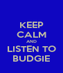 KEEP CALM AND LISTEN TO BUDGIE - Personalised Poster A4 size