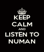 KEEP CALM AND LISTEN TO NUMAN - Personalised Poster A4 size