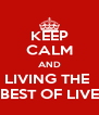 KEEP CALM AND LIVING THE  BEST OF LIVE - Personalised Poster A4 size