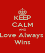 KEEP CALM AND Love Always  Wins - Personalised Poster A4 size