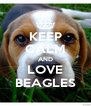 KEEP CALM AND LOVE BEAGLES - Personalised Poster A4 size