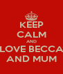 KEEP CALM AND LOVE BECCA AND MUM - Personalised Poster A4 size