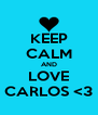 KEEP CALM AND LOVE CARLOS <3 - Personalised Poster A4 size