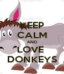 KEEP CALM AND LOVE  DONKEYS - Personalised Poster A4 size