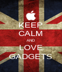 KEEP CALM AND LOVE GADGETS - Personalised Poster A4 size