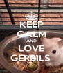 KEEP CALM AND LOVE GERBILS  - Personalised Poster A4 size