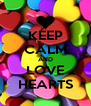 KEEP CALM AND LOVE HEARTS - Personalised Poster A4 size