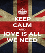 KEEP CALM AND lOVE IS ALL WE NEED - Personalised Poster A4 size