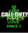 KEEP CALM AND LOVE  MW3 !! - Personalised Poster A4 size