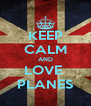 KEEP CALM AND LOVE  PLANES - Personalised Poster A4 size
