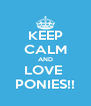KEEP CALM AND LOVE  PONIES!! - Personalised Poster A4 size